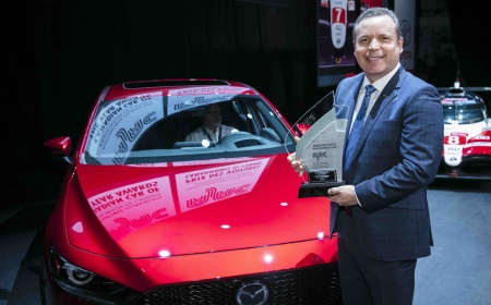 The Mazda 3, 2020 AJAC Canadian Car of the Year, at the 2020 Canadian International AutoShow in Toronto, Ontario.