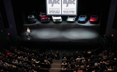 Finalists for the 2020 AJAC Canadian Car and Utility Vehicle of the Year awards at the 2020 Canadian International AutoShow in Toronto, Ontario.