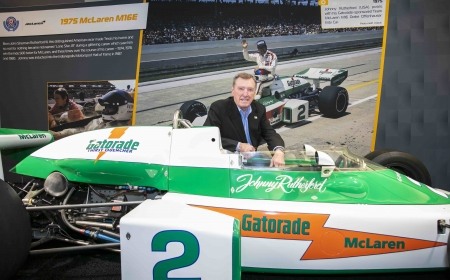 Former McLaren team driver Johnny Rutherford speaks to media at the 2020 Canadian International AutoShow in Toronto, Ontario.